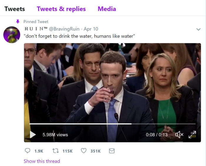 Facebook Water Drink